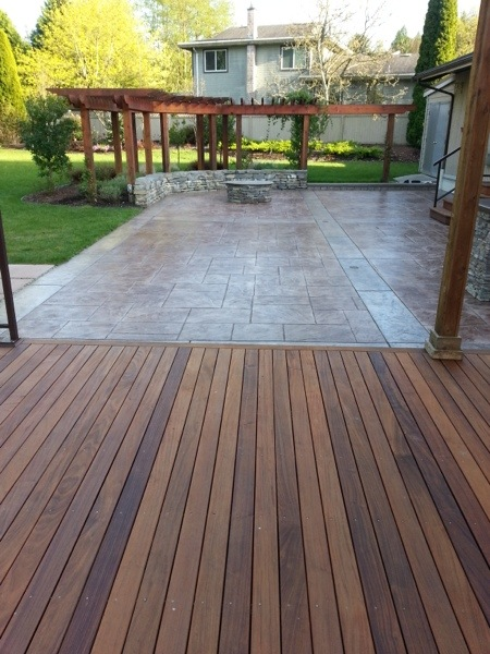 Brazilian Wooden Deck And Stamped Concrete Restoration